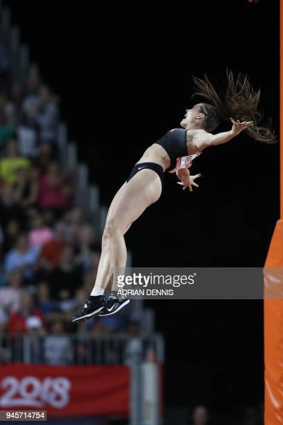 Canadas Alysha Newman competes in the athletics women's pole vault final during the 2018 Gold Coast Commonwealth Games at the Carrara Stadium on the...