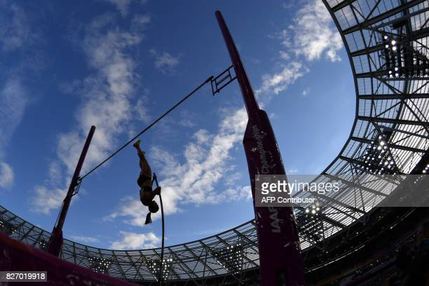 Canada's Alysha Newman competes in the final of the women's pole vault athletics event at the 2017 IAAF World Championships at the London Stadium in...