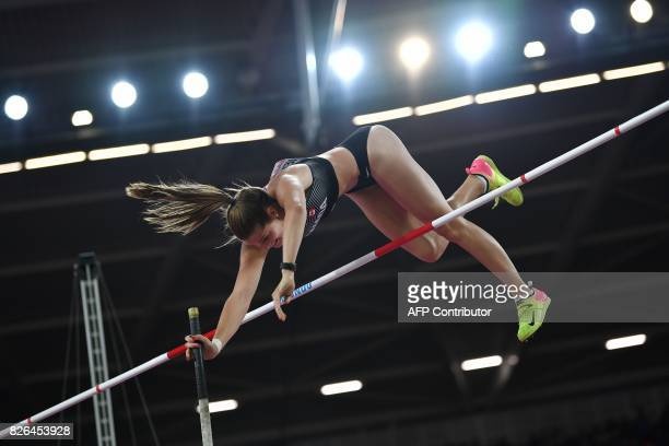 Canada's Alysha Newman competes in the qualifying round of the women's pole vault athletics event at the 2017 IAAF World Championships at the London...