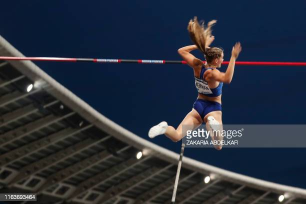 TOPSHOT Canada's Alysha Newman competes in the Women's pole vault during the IAAF Diamond League competition on August 24 2019 at the Charlety...