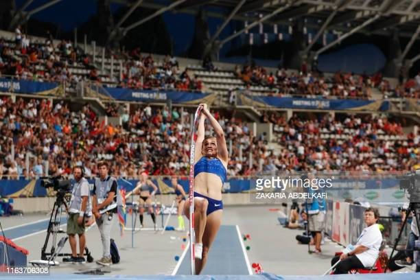 Canada's Alysha Newman competes in the Women's pole vault during the IAAF Diamond League competition on August 24 2019 at the Charlety stadium in...