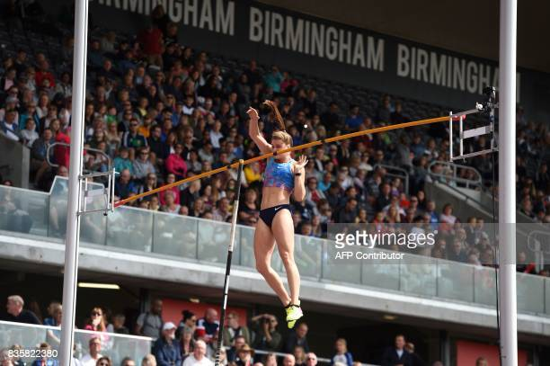 Canada's Alysha Newman competes in the women's pole vault during the 2017 IAAF Birmingham Diamond League athletics meeting at Alexander Stadium in...