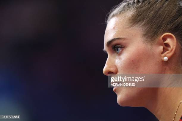 Canada's Alysha Newman competes in the women's pole vault final at the 2018 IAAF World Indoor Athletics Championships at the Arena in Birmingham on...