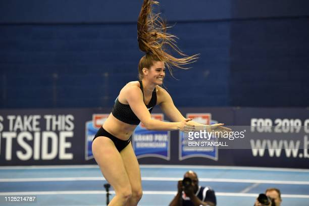 Canada's Alysha Newman reacts after a clearance during the women's pole vault final at the Indoor athletics Grand Prix at Arena Birmingham in...