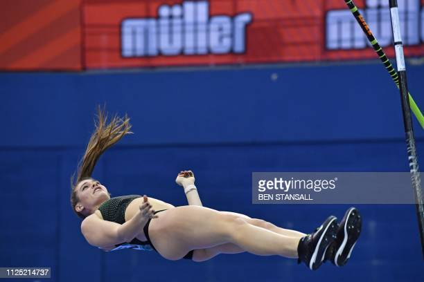 Canada's Alysha Newman reacts after a failure during the women's pole vault final at the Indoor athletics Grand Prix at Arena Birmingham in...