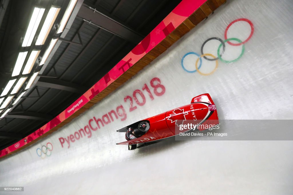 Canada's Alysia Rissling (pilot) and Heather Moyse compete in the Two Woman Bobsleigh Heat 3 at the Olympic Sliding Centre during day twelve of the PyeongChang 2018 Winter Olympic Games in South Korea.