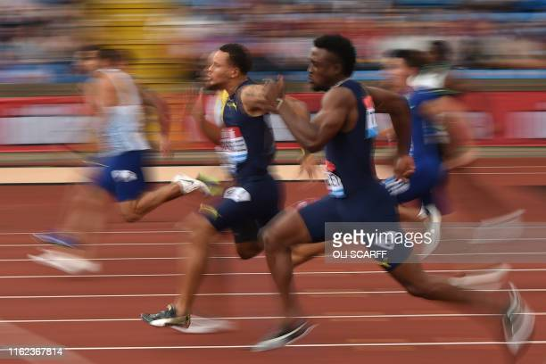 TOPSHOT Canada's Andre De Grasse on his way to third place in heat 1 of the men's 100m during the 2019 IAAF Birmingham Diamond League athletics...