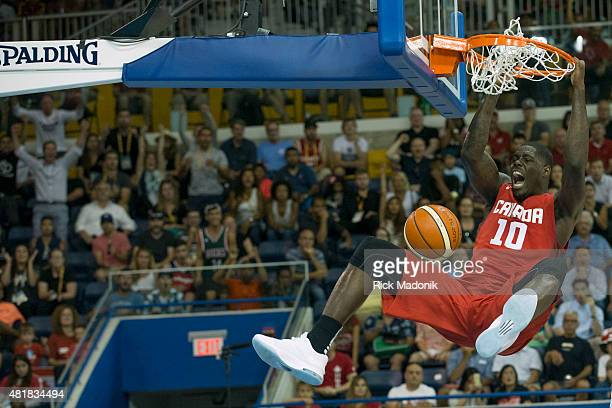 TORONTO JULY 24 2015 Canada's Anthony Bennett with a massive slam late in the game Men's basketball Semi final round action between Canada and USA in...