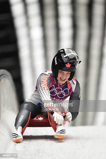 Canada's Arianne Jones reacts at the end of her Women's Luge Singles event final run at the Sanki Sliding Center during the Sochi Winter Olympics on...