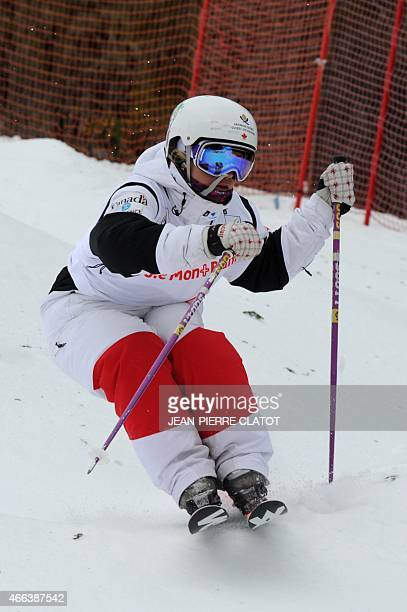Canada's Audrey Robichaud competes in the ladies' Moguls final of the Freestyle Skiing World Cup on march 15 2015 at Megeve ski resort French Alps...