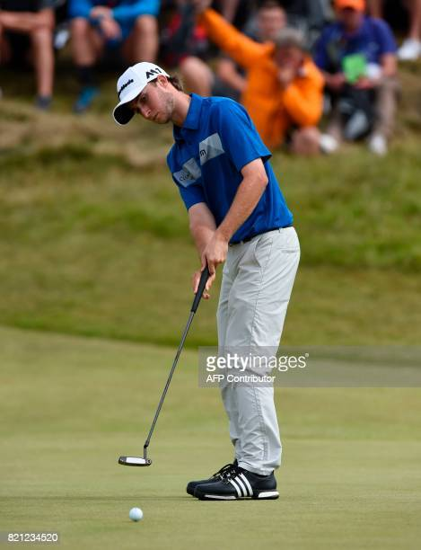 Canada's Austin Connelly putts on the 7th green during his final round on day four of the 2017 Open Golf Championship at Royal Birkdale golf course...