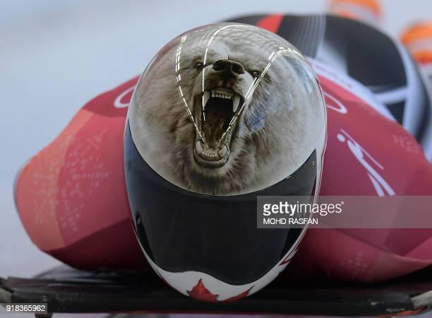 Canada's Barrett Martineau competes in the mens's skeleton heat 1 during the Pyeongchang 2018 Winter Olympic Games at the Olympic Sliding Centre on...