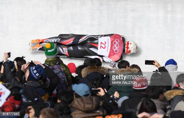 Canada's Barrett Martineau competes in the mens's skeleton heat 3 run during the Pyeongchang 2018 Winter Olympic Games at the Olympic Sliding Centre...