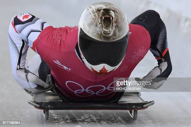 TOPSHOT Canada's Barrett Martineau practices in the men's skeleton training session at the Olympic Sliding Centre during the Pyeongchang 2018 Winter...