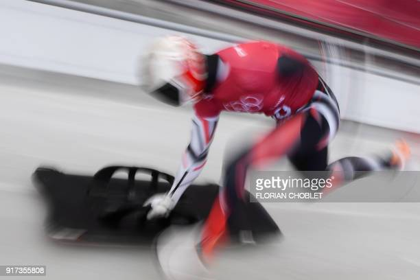 Canada's Barrett Martineau practices in the men's skeleton training session at the Olympic Sliding Centre during the Pyeongchang 2018 Winter Olympic...
