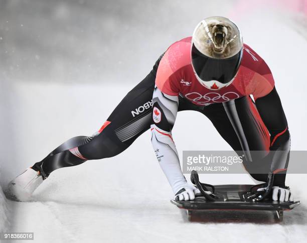 Canada's Barrett Martineau slows down at the end of the mens's skeleton heat 1 during the Pyeongchang 2018 Winter Olympic Games at the Olympic...