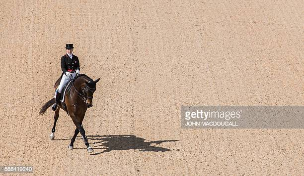 Canada's Belinda Trussel on Anton performs her routine during the Equestrian's Dressage Grand Prix event of the 2016 Rio Olympic Games at the Olympic...