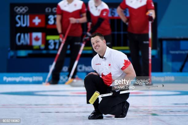 Canada's Ben Hebert reacts during the curling men's bronze medal game during the Pyeongchang 2018 Winter Olympic Games at the Gangneung Curling...