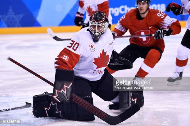 Canada's Ben Scrivens looks on in the men's preliminary round ice hockey match between Switzerland and Canada during the Pyeongchang 2018 Winter...