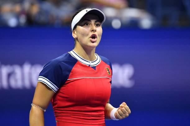 Canada's Bianca Andreescu celebrates during her 2021 US Open Tennis tournament women's singles first round match against Switzerland's Viktorija...