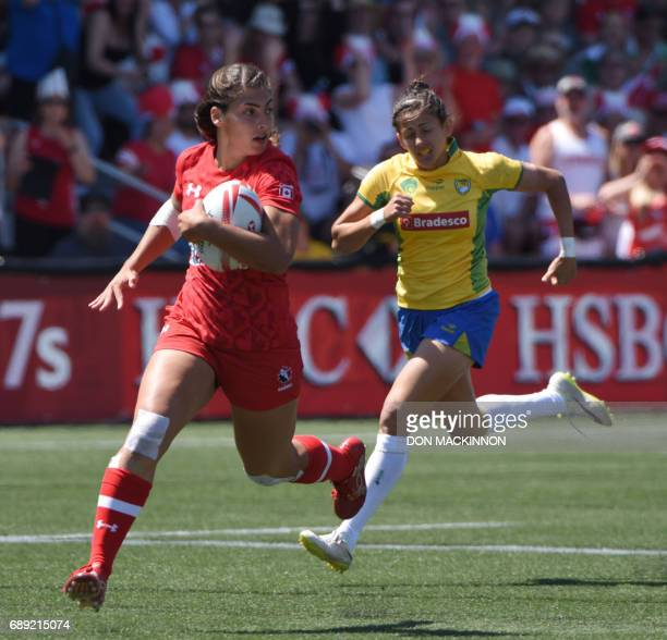 Canada's Bianca Farella runs for a try vs Brazil in HSBC Canada Women's Sevens Rugby action at Westhills Stadium in Langford BC May 27 2017 / AFP...