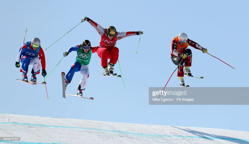 Canada's Brady Leman (right) leads over the last jump to win his quarter final in the Men's Ski Cross at the Phoenix Snow Park during day twelve of the PyeongChang 2018 Winter Olympic Games in South Korea.