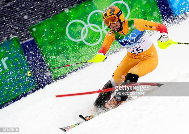 Canada's Brigitte Acton clears a gate during the Women's Vancouver 2010 Winter Olympics Slalom event at Whistler Creek side Alpine skiing venue on...