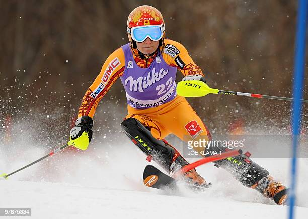 Canada's Brigitte Acton competes in the women's Alpine skiing World Cup Slalom in Garmisch Partenkirchen southern Germany on March 13 2010 AFP PHOTO...