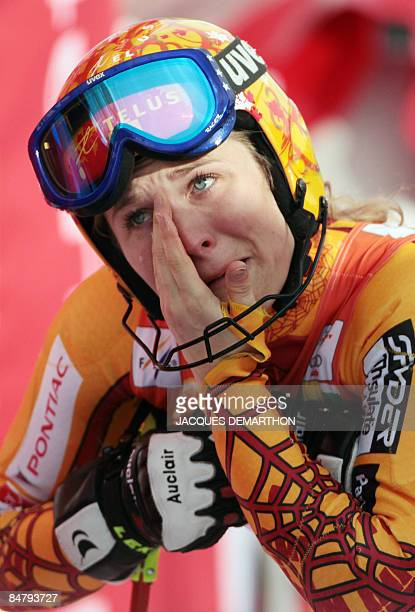 Canada's Brigitte Acton cries after the women's slalom second run during the World Ski Championships on February 14 2009 in Val d'Isere French Alps...