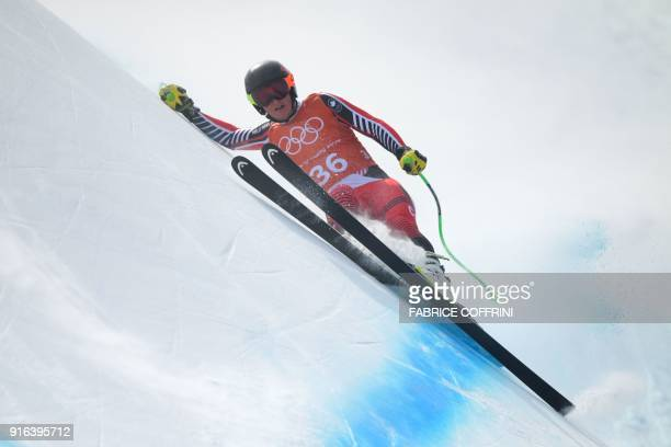 TOPSHOT Canada's Broderick Thompson takes part in the Men's Downhill 3rd training at the Jeongseon Alpine Center during the Pyeongchang 2018 Winter...