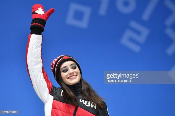 Canada's bronze medallist Kaetlyn Osmond poses on the podium during the medal ceremony for the figure skating women's singles at the Pyeongchang...