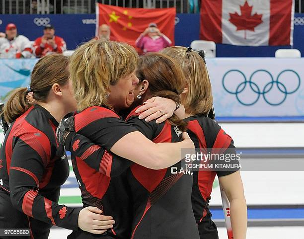 Canada's Carolyn Darbyshire celebrates their victory with teammates Cheryl Bernard Susan O'Connor and Cori Bartel after the Vancouver Winter Olympics...