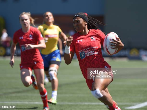 Canada's Charaity Williams runs for a try vs Brazil in HSBC Canada Women's Sevens Rugby action at Westhills Stadium in Langford BC May 27 2017 / AFP...