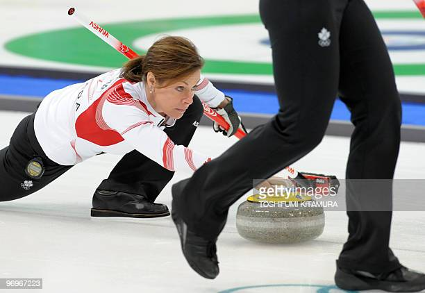 Canada's Cheryl Bernard throws the stone during their Vancouver Winter Olympic women's curling round robin match against Sweden at the Vancouver...