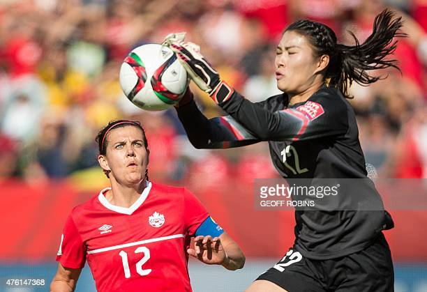 Canada's Christine Sinclair challenges China's goal keeper Wang Fei during a Group A football match between Canada and China at Commonwealth Stadium...