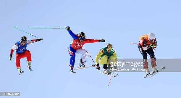Canada's Dave Duncan leads over the last jump to win his heat in the Men's Ski Cross at the Phoenix Snow Park during day twelve of the PyeongChang...