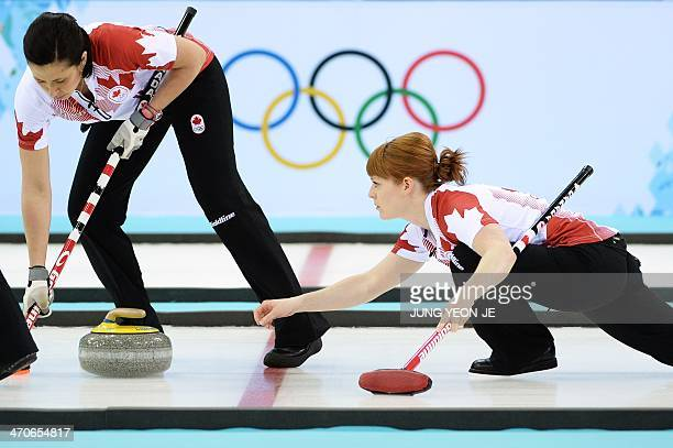 Canada's Dawn McEwen throws the stone during the Women's Curling Gold Medal Game Canada vs Sweden at the Ice Cube Curling Center during the Sochi...