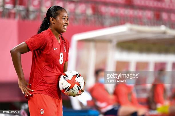 Canada's defender Jayde Riviere during the Tokyo 2020 Olympic Games women's group E first round football match between Canada and Britain at the...