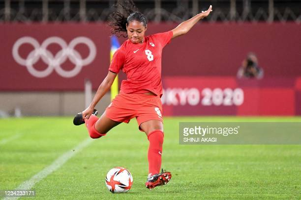 Canada's defender Jayde Riviere shoots the ball during the Tokyo 2020 Olympic Games women's group E first round football match between Canada and...