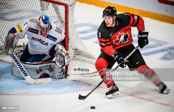 Canada's defender Shawn Lalonde attacks the net of South Korea's goaltender Matthew Dalton during the Channel One Cup of the Euro Hockey Tour ice...