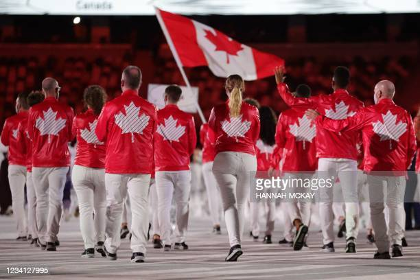 Canada's delegation enters the Olympic Stadium during Tokyo 2020 Olympic Games opening ceremony's parade of athletes, in Tokyo on July 23, 2021.