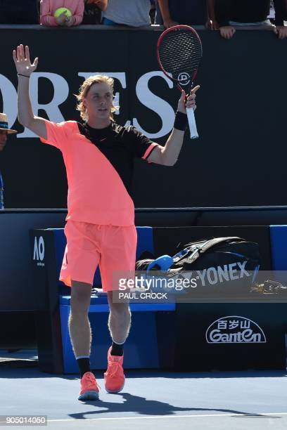Canada's Denis Shapovalov celebrates his victory against Greece's Stefanos Tsitsipas during their men's singles first round match on day one of the...