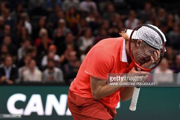 Canada's Denis Shapovalov reacts during his men's singles first round tennis match against France's Richard Gasquet on day one of the ATP World Tour...