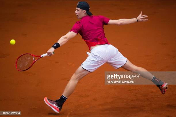 Canada's Denis Shapovalov returns the ball during the Davis Cup qualifiers double tennis match Slovakia vs Canada in Bratislava on February 2 2019