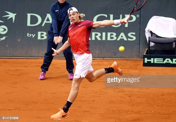 Canada's Denis Shapovalov returns the ball to Croatia's Borna Coric during the Davis Cup tennis match between Croatia and Canada at Gradski vrt hall...