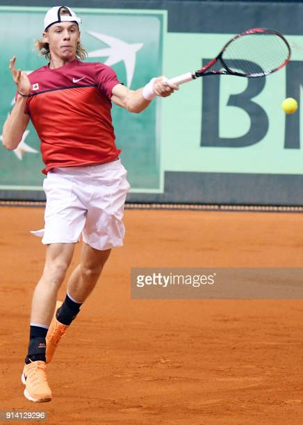 Canada's Denis Shapovalov returns the ball to Croatia's Borna Coricduring the Davis Cup tennis match between Croatia and Canada at Gradski vrt hall...
