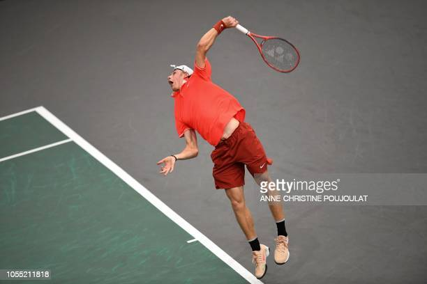 Canada's Denis Shapovalov serves the ball to France's Richard Gasquet during their men's singles first round tennis match on day one of the ATP World...