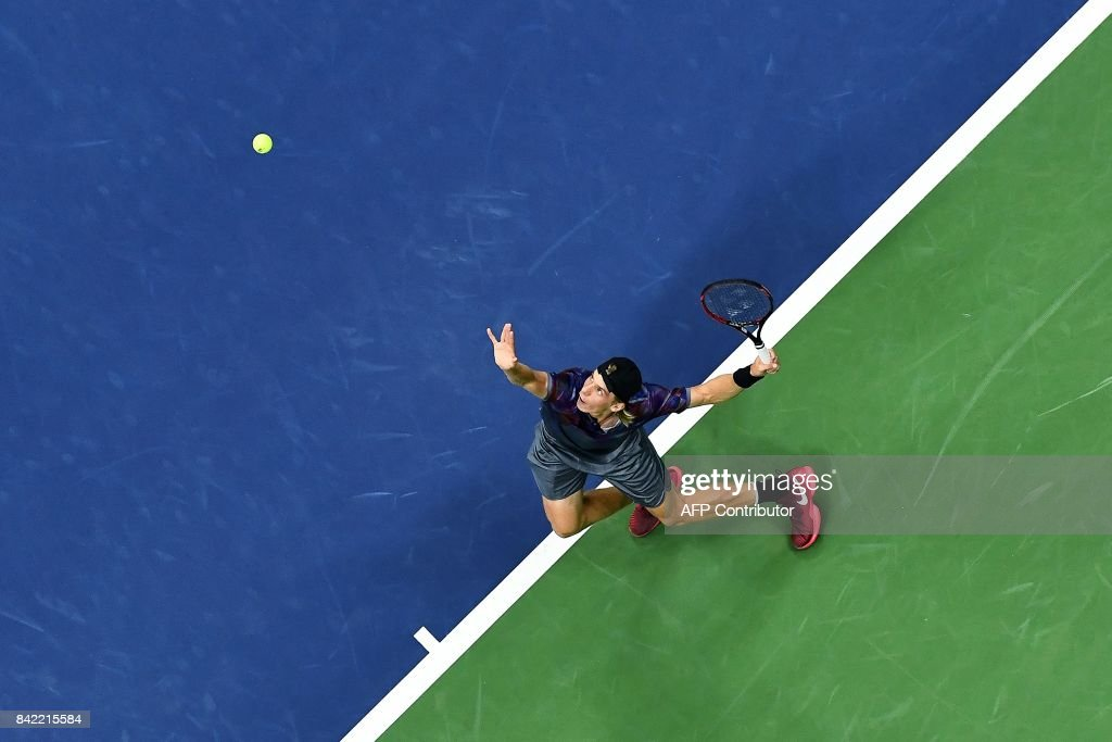 Canada's Denis Shapovalov serves the ball to Spain's Pablo Carreno Busta during their qualifying 2017 US Open Men's Singles match at the USTA Billie Jean King National Tennis Center in New York on September 3, 2017. / AFP PHOTO / Jewel SAMAD