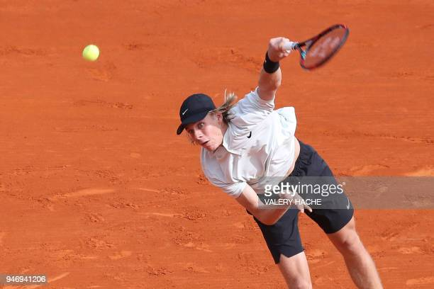 Canada's Denis Shapovalov serves to Greece's Stefanos Tsitsipas during their round of 64 tennis match at the MonteCarlo ATP Masters Series Tournament...