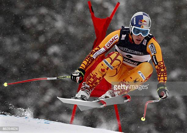 Canada's Erik Guay competes during the men's official downhill training at the FIS Ski World cup on March 5, 2009 in Kvitfjell. AFP PHOTO / DANIEL...